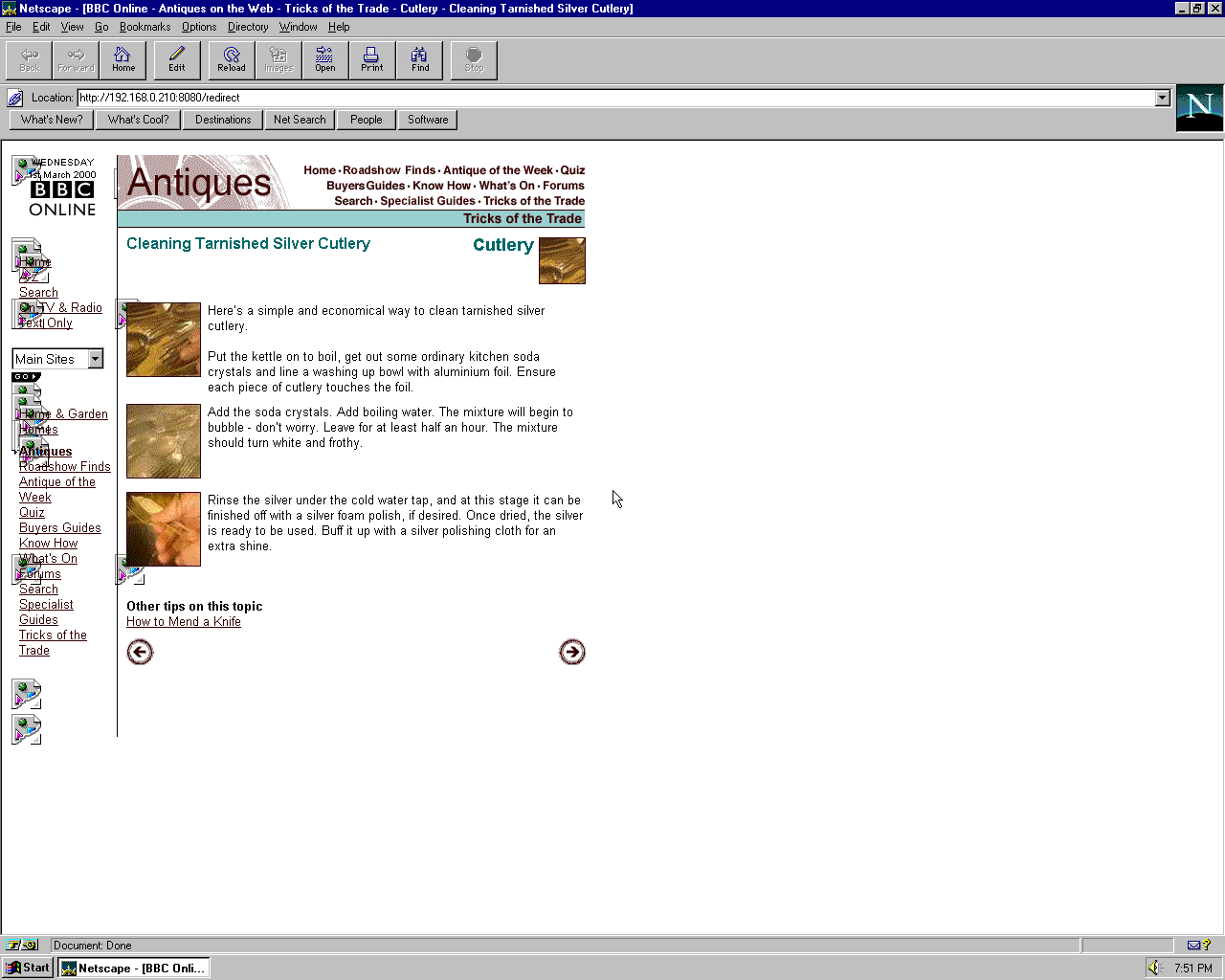 Windows 95 OSR2 x86 with Netscape Navigator 3.0 Gold displaying a page from BBC.co.uk archived at March 01, 2000 at 05:29:34