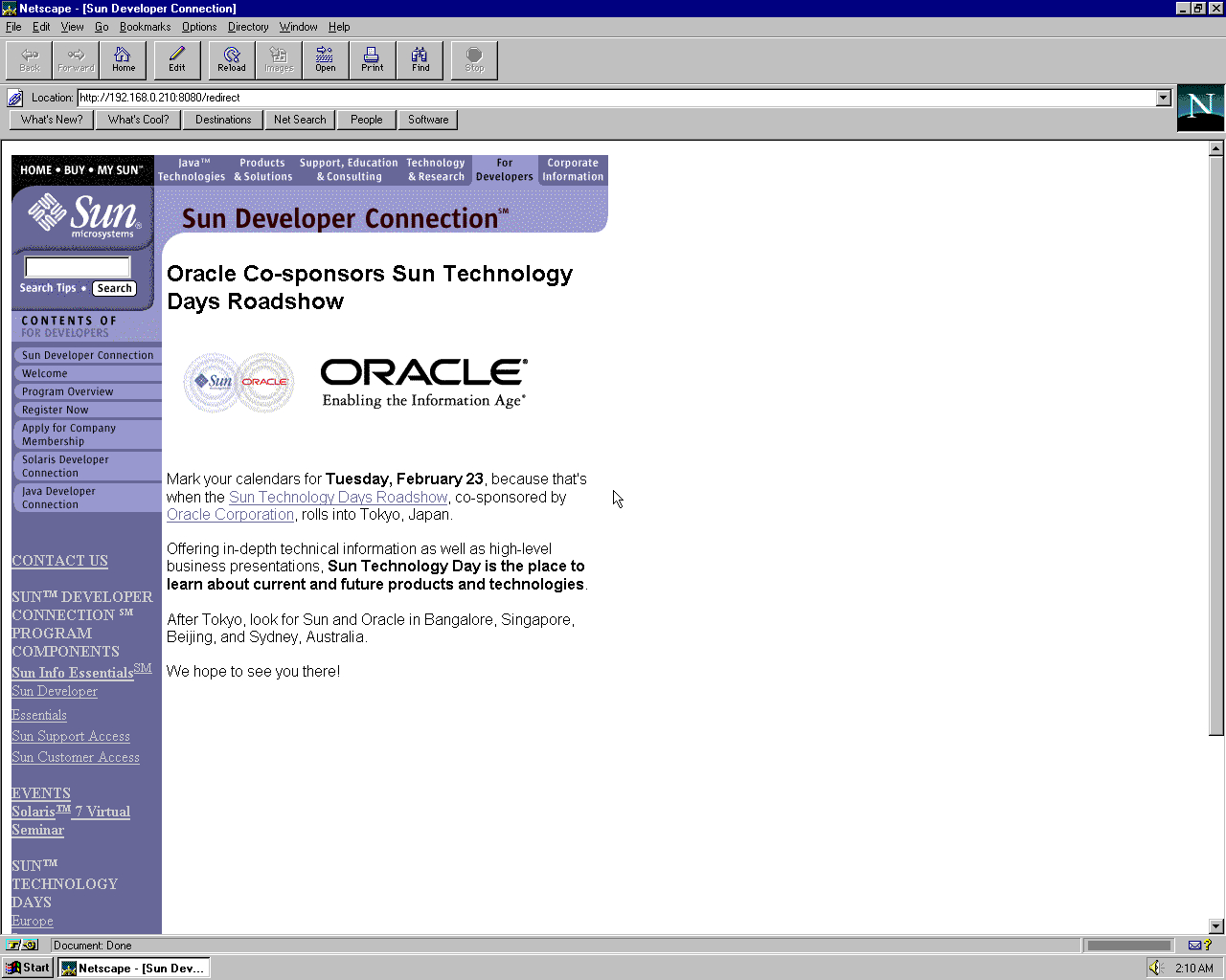 Windows 95 OSR2 x86 with Netscape Navigator 3.0 Gold displaying a page from Sun Microsystems archived at May 01, 1999 at 09:10:26