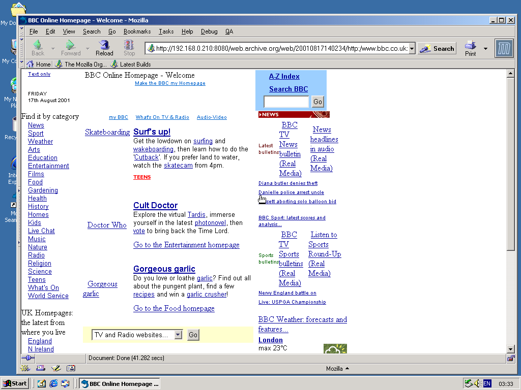 Windows 2000 Pro x86 with Mozilla Suite 0.6 displaying a page from BBC.co.uk archived at August 17, 2001 at 14:02:34