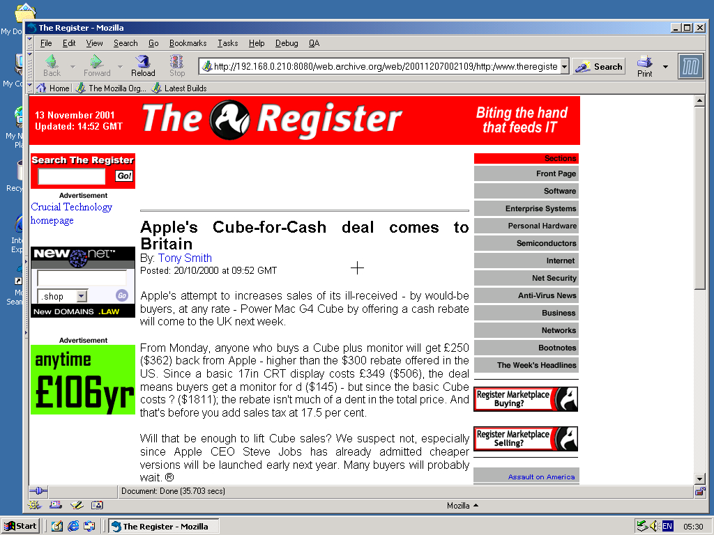 Windows 2000 Pro x86 with Mozilla Suite 0.6 displaying a page from TheRegister.co.uk archived at December 07, 2001 at 00:21:09