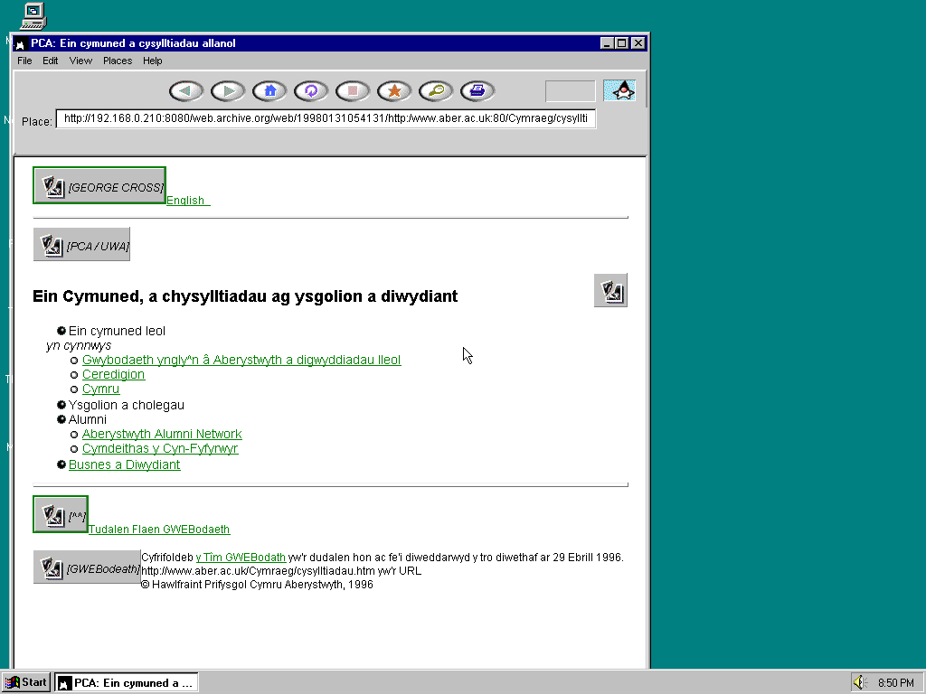 Windows 95 OSR2 x86 with HotJava 1.0 displaying a page from University of Aberystwyth archived at January 31, 1998 at 05:41:31