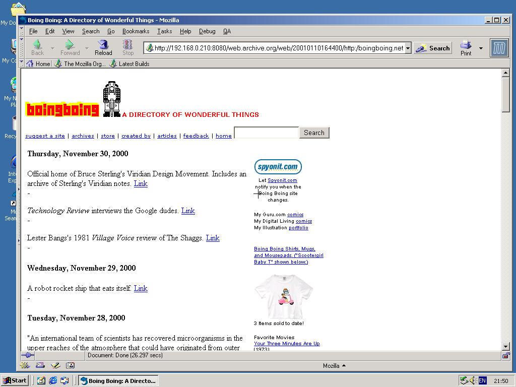 Windows 2000 Pro x86 with Mozilla Suite 0.6 displaying a page from BoingBoing.net archived at January 10, 2001 at 16:44:00