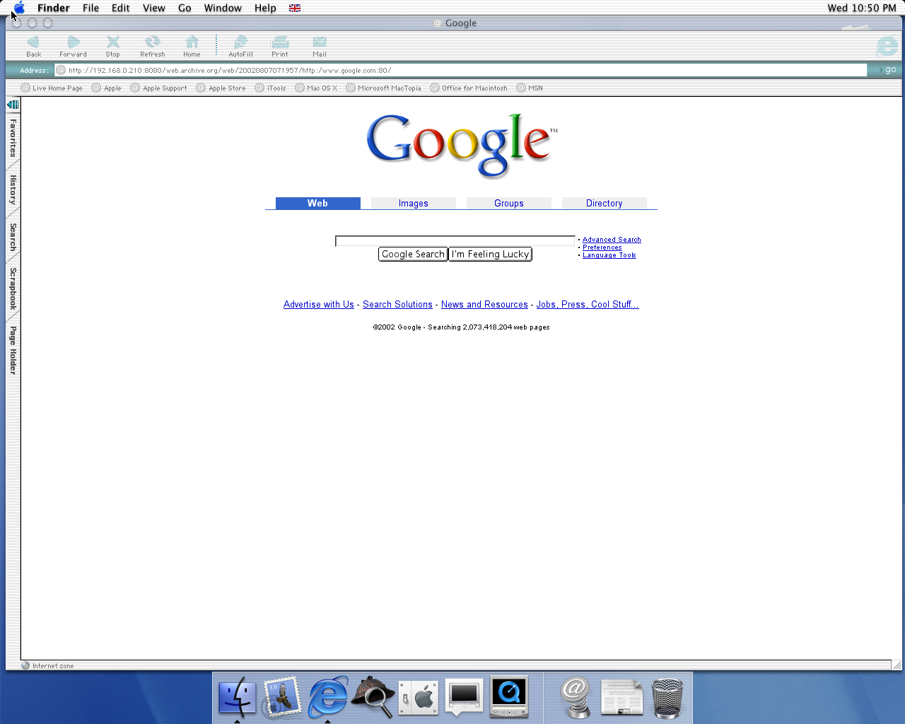 OS X 10.0 PPC with Microsoft Internet Explorer 5.1 for Mac Preview displaying a page from Google.com archived at August 07, 2002 at 07:19:57