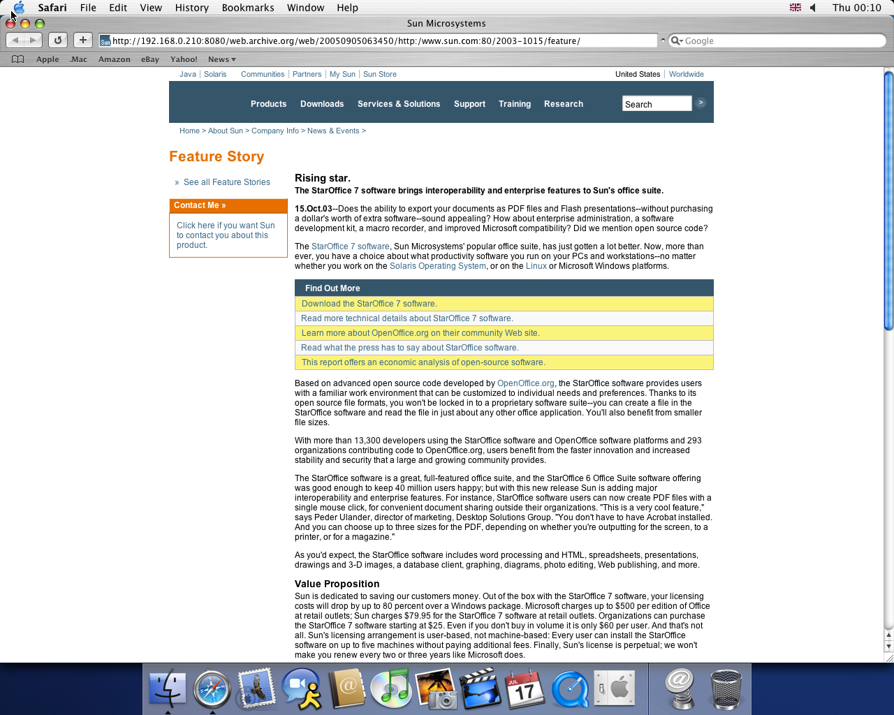 OS X 10.3 PPC with Safari 1.1 displaying a page from Sun Microsystems archived at September 05, 2005 at 06:34:50