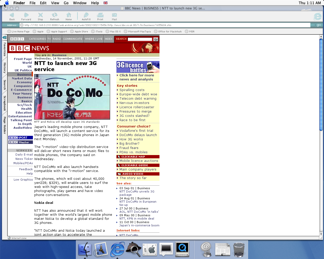 OS X 10.0 PPC with Microsoft Internet Explorer 5.1 for Mac Preview displaying a page from BBC News archived at October 02, 2002 at 11:54:56