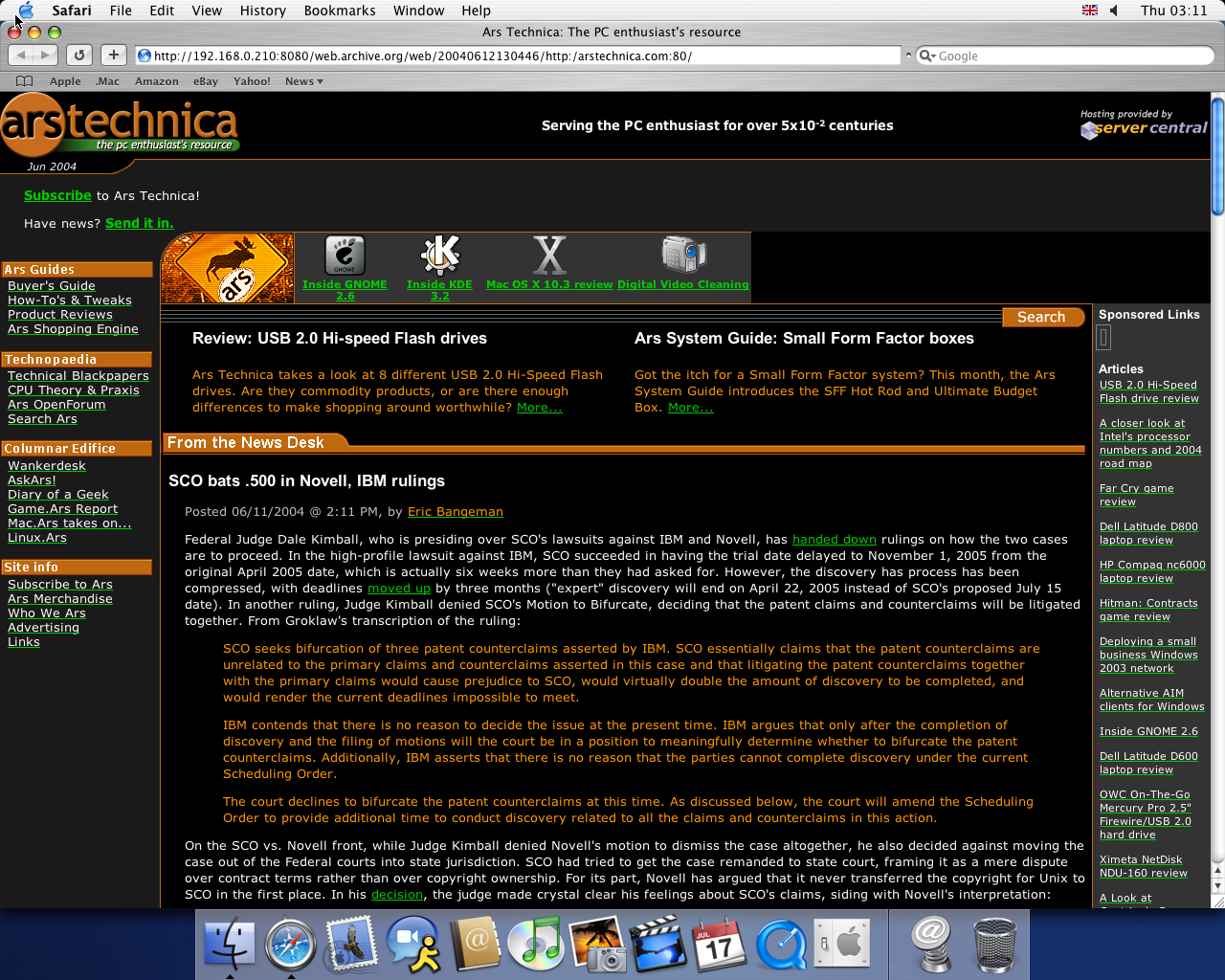 OS X 10.3 PPC with Safari 1.1 displaying a page from Arstechnica.com archived at June 12, 2004 at 13:04:46