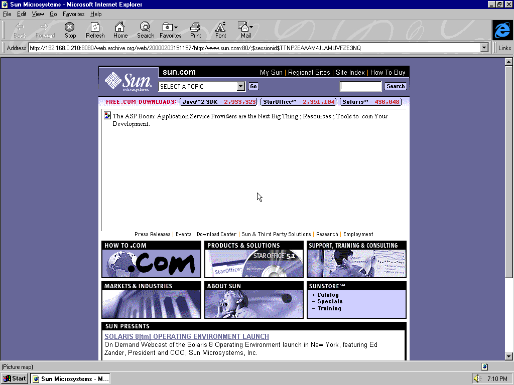 Windows 95 OSR2 x86 with Microsoft Internet Explorer 3.0 displaying a page from Sun Microsystems archived at February 03, 2000 at 15:11:57