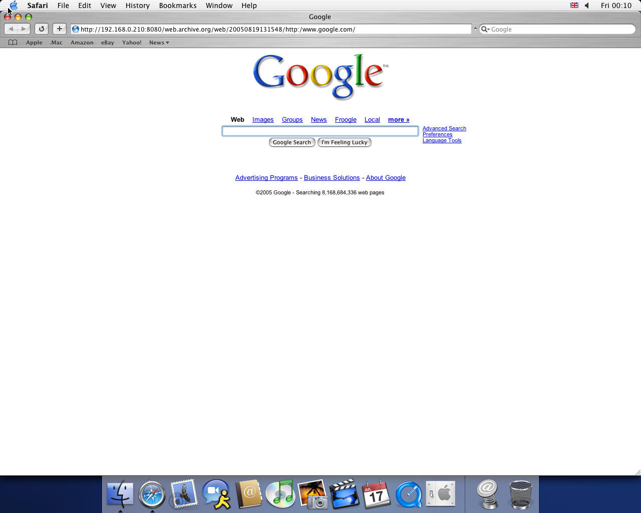 OS X 10.3 PPC with Safari 1.1 displaying a page from Google.com archived at August 19, 2005 at 13:15:48