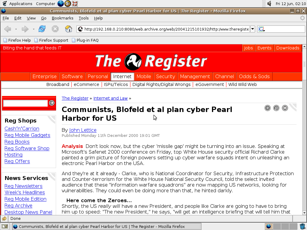 Ubuntu 4.10 x86 with Mozilla Firefox 0.9.3 displaying a page from TheRegister.co.uk archived at December 15, 2004 at 10:19:32