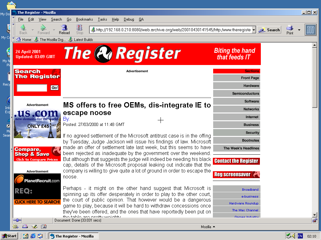 Windows 2000 Pro x86 with Mozilla Suite 0.6 displaying a page from TheRegister.co.uk archived at April 30, 2001 at 14:15:45