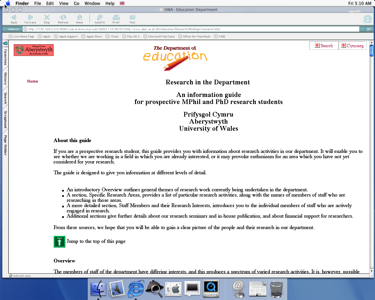 OS X 10.0 PPC with Microsoft Internet Explorer 5.1 for Mac Preview displaying a page from University of Aberystwyth archived at November 13, 2002 at 13:01:07