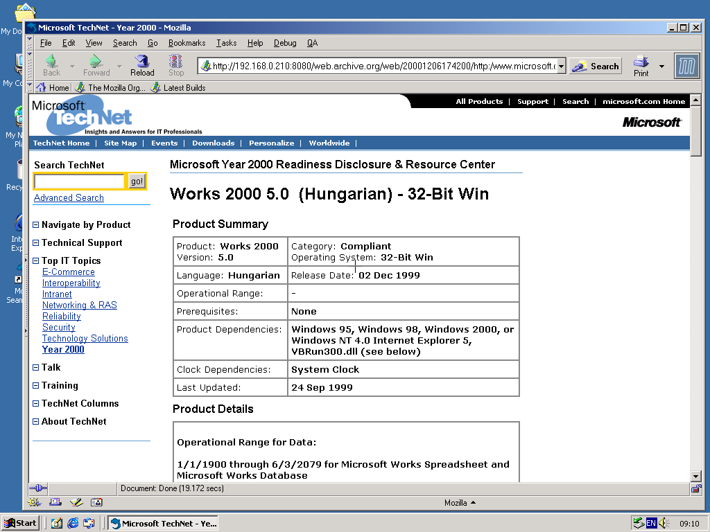 Windows 2000 Pro x86 with Mozilla Suite 0.6 displaying a page from Microsoft.com archived at December 06, 2000 at 17:42:00