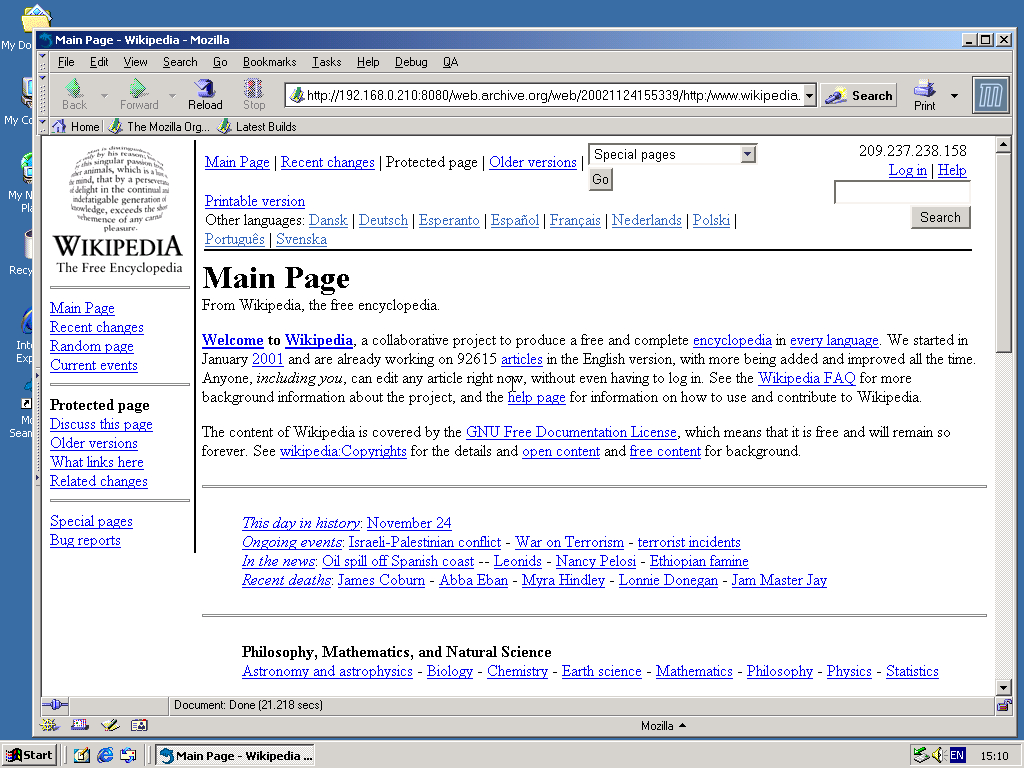 Windows 2000 Pro x86 with Mozilla Suite 0.6 displaying a page from Wikipedia.org archived at November 24, 2002 at 15:53:39