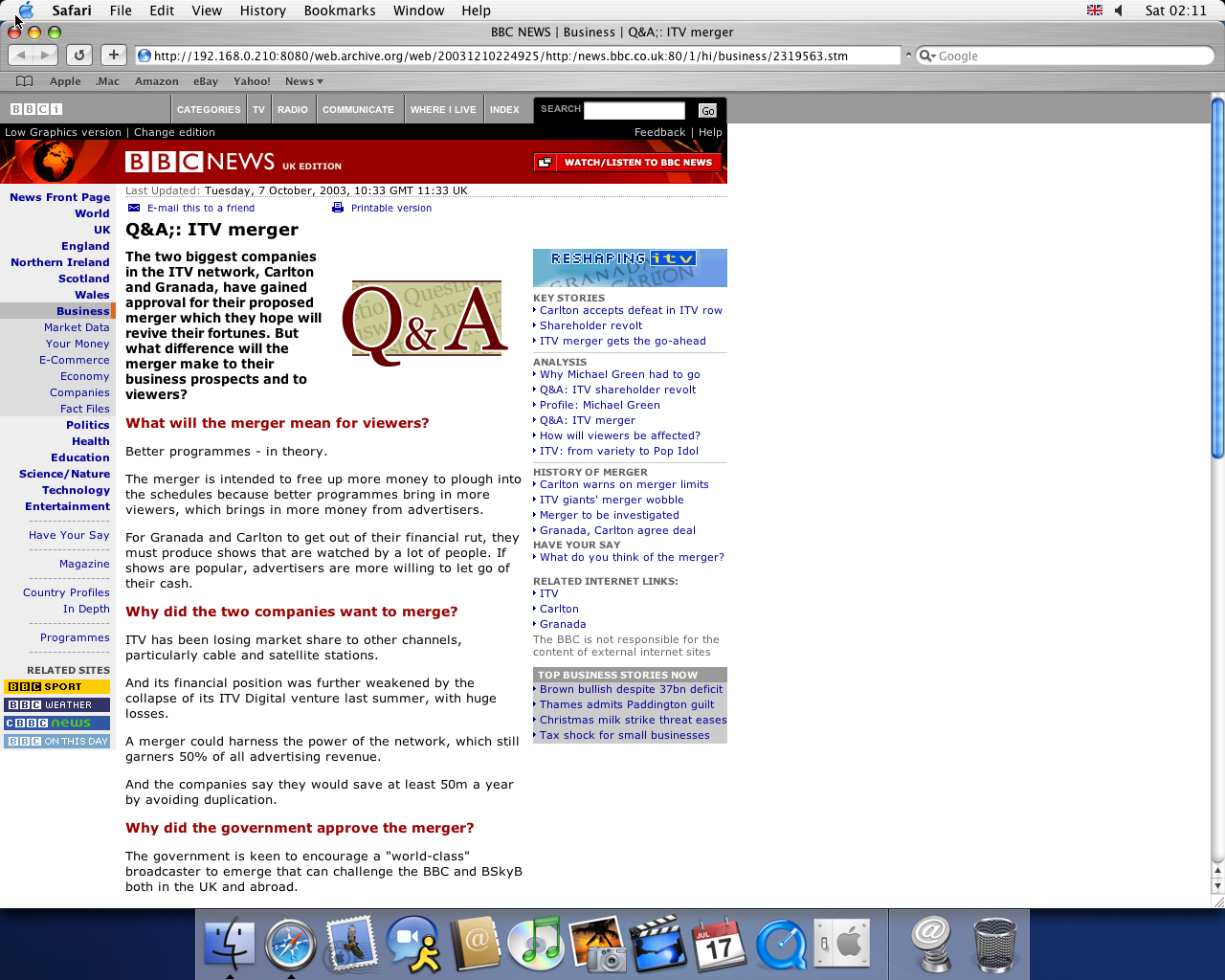 OS X 10.3 PPC with Safari 1.1 displaying a page from BBC News archived at December 10, 2003 at 22:49:25