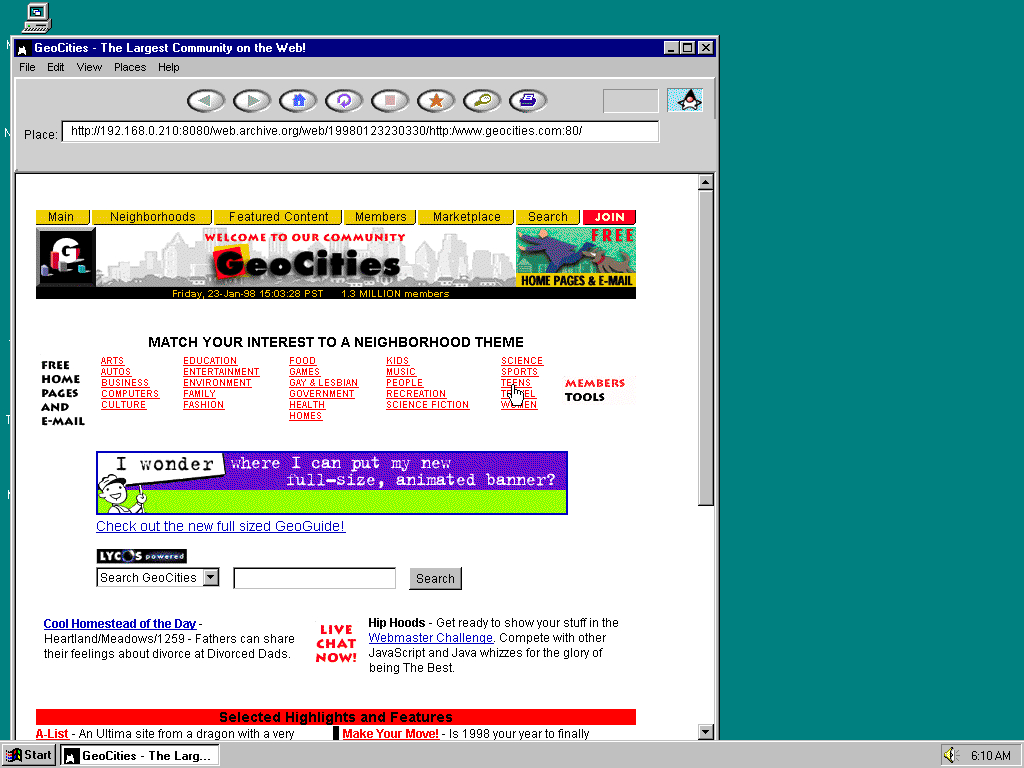 Windows 95 OSR2 x86 with HotJava 1.0 displaying a page from GeoCities archived at January 23, 1998 at 23:03:30
