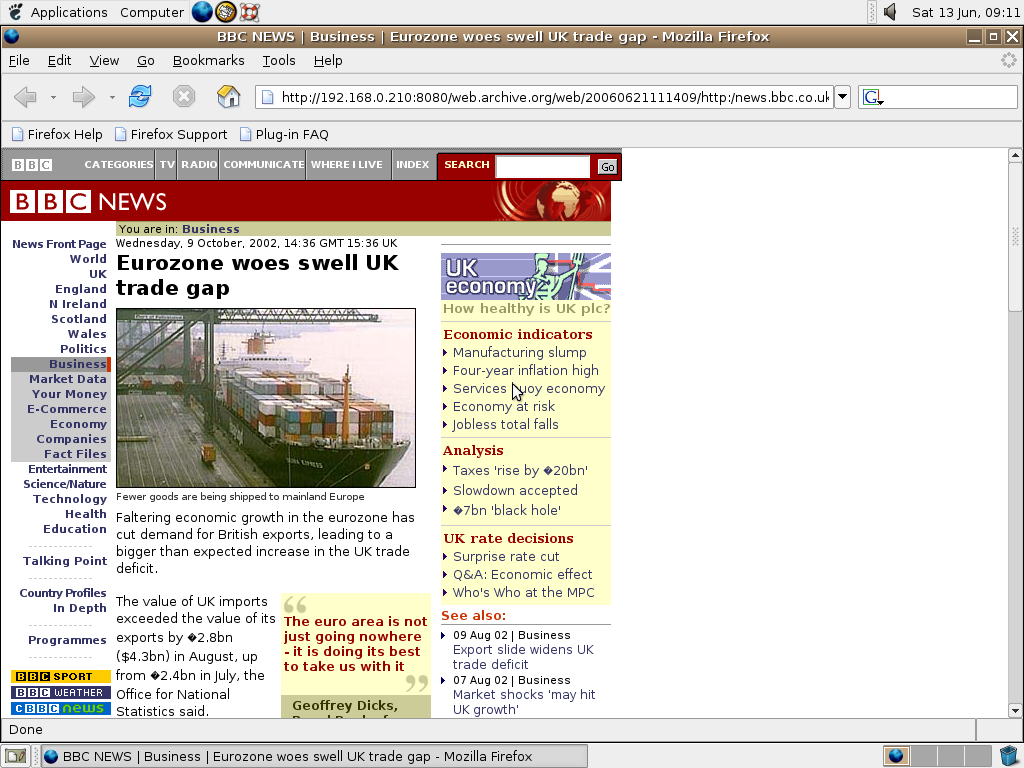 Ubuntu 4.10 x86 with Mozilla Firefox 0.9.3 displaying a page from BBC News archived at June 21, 2006 at 11:14:09