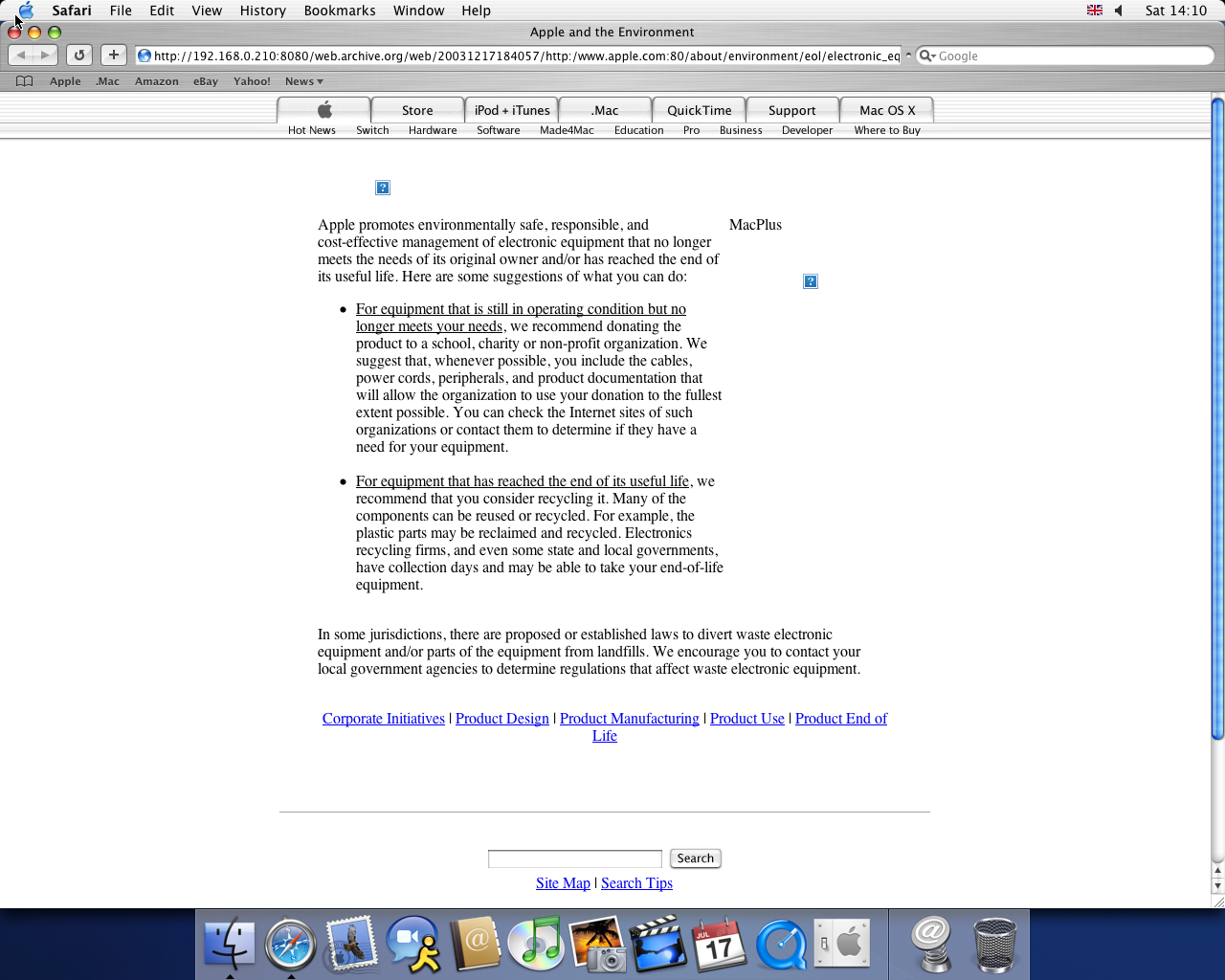 OS X 10.3 PPC with Safari 1.1 displaying a page from Apple.com archived at December 17, 2003 at 18:40:57