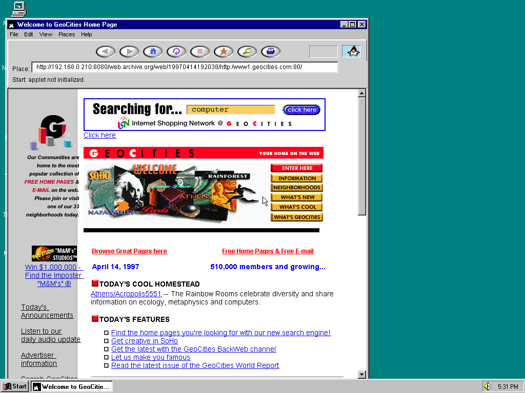 Windows 95 OSR2 x86 with HotJava 1.0 displaying a page from GeoCities archived at April 14, 1997 at 19:20:38