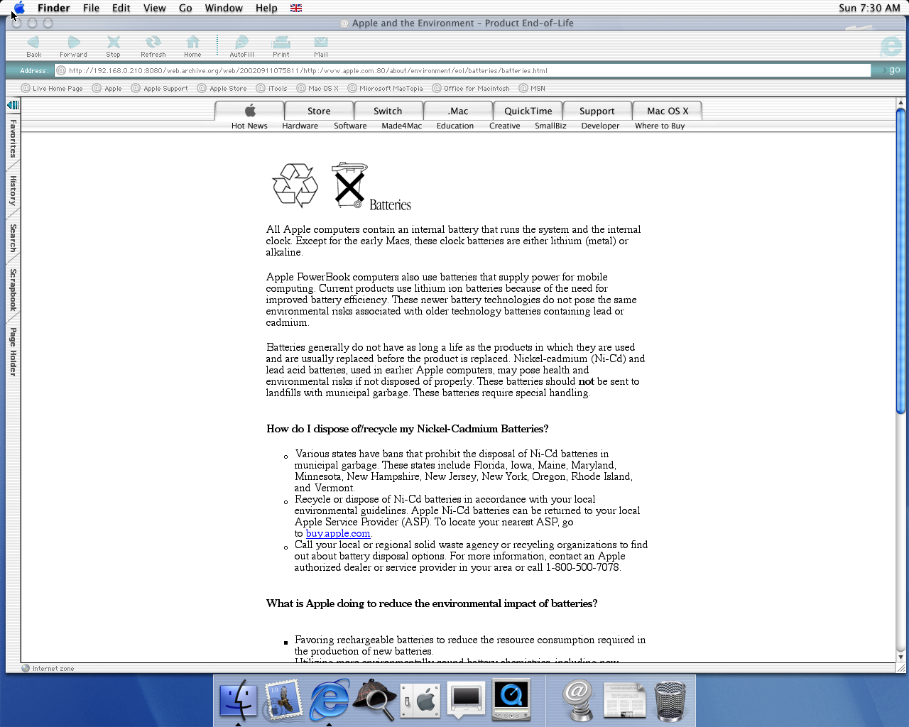 OS X 10.0 PPC with Microsoft Internet Explorer 5.1 for Mac Preview displaying a page from Apple.com archived at September 11, 2002 at 07:58:11