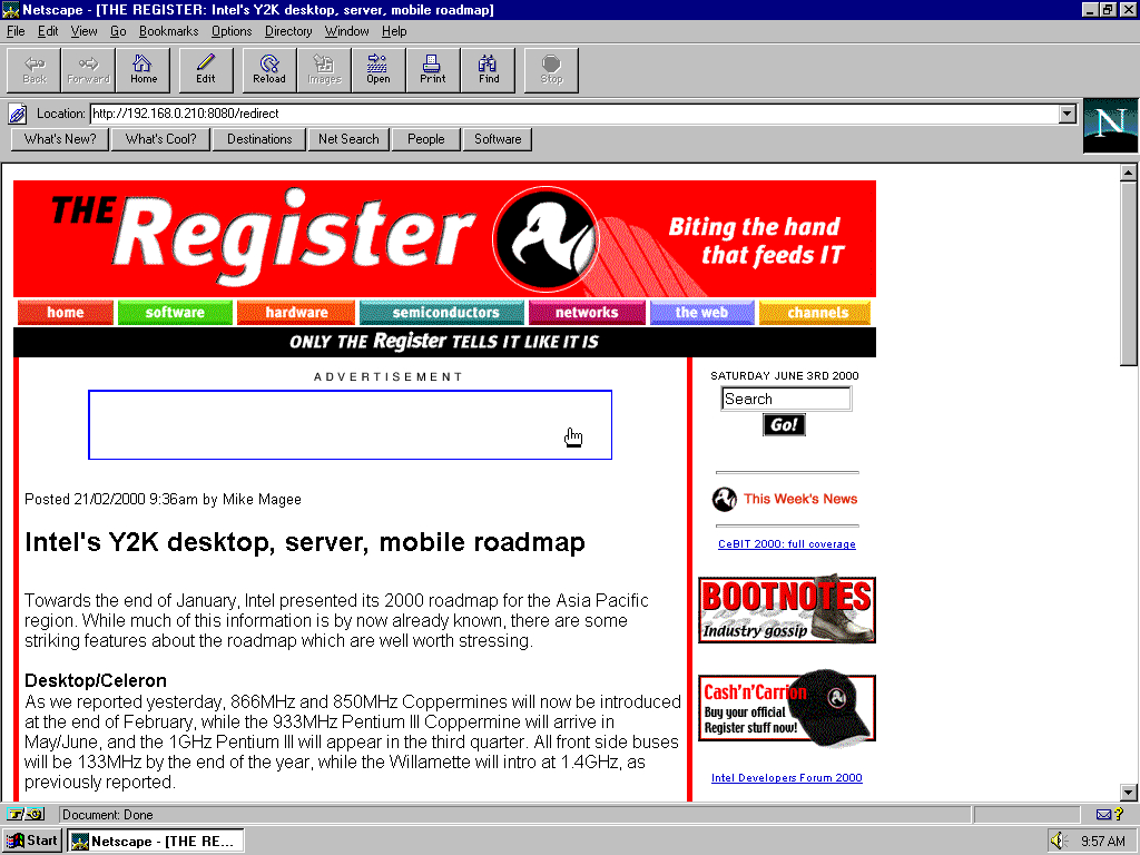 Windows 95 OSR2 x86 with Netscape Navigator 3.0 Gold displaying a page from TheRegister.co.uk archived at June 03, 2000 at 12:46:35
