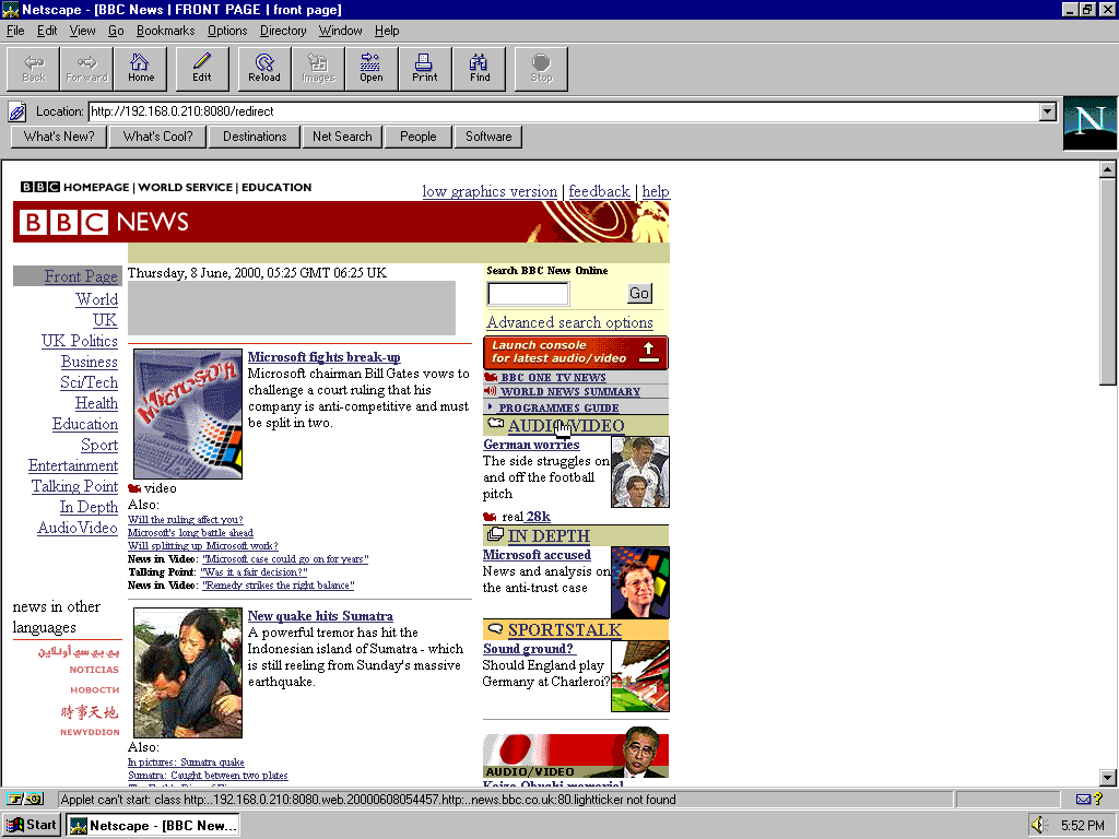 Windows 95 OSR2 x86 with Netscape Navigator 3.0 Gold displaying a page from BBC News archived at June 08, 2000 at 05:44:57