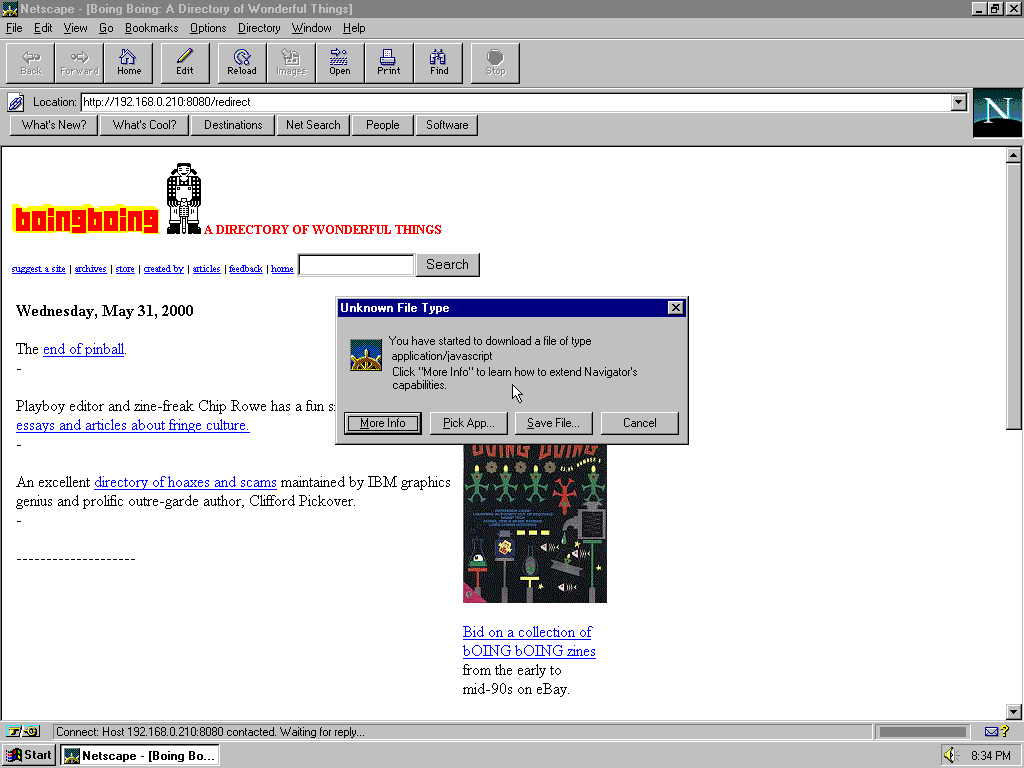 Windows 95 OSR2 x86 with Netscape Navigator 3.0 Gold displaying a page from BoingBoing.net archived at August 17, 2000 at 23:21:27