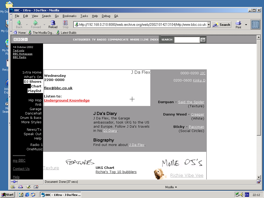 Windows 2000 Pro x86 with Mozilla Suite 0.6 displaying a page from BBC.co.uk archived at October 14, 2002 at 21:31:04