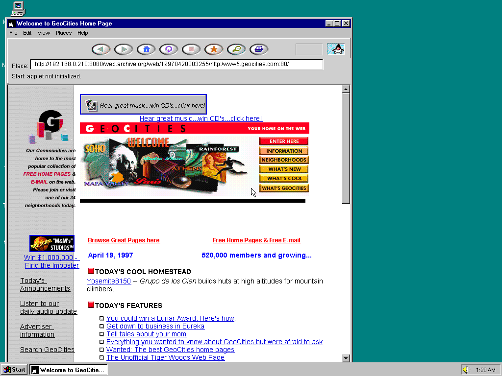 Windows 95 OSR2 x86 with HotJava 1.0 displaying a page from GeoCities archived at April 20, 1997 at 00:32:55