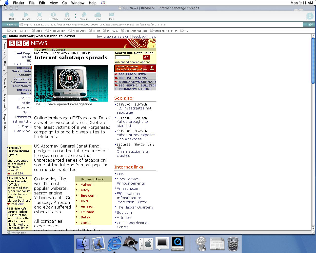 OS X 10.0 PPC with Microsoft Internet Explorer 5.1 for Mac Preview displaying a page from BBC News archived at October 02, 2002 at 04:10:37