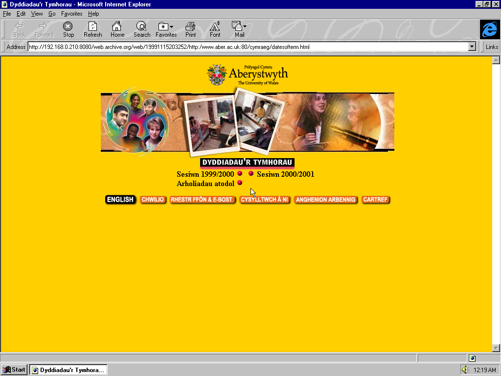 Windows 95 OSR2 x86 with Microsoft Internet Explorer 3.0 displaying a page from University of Aberystwyth archived at November 15, 1999 at 20:32:52