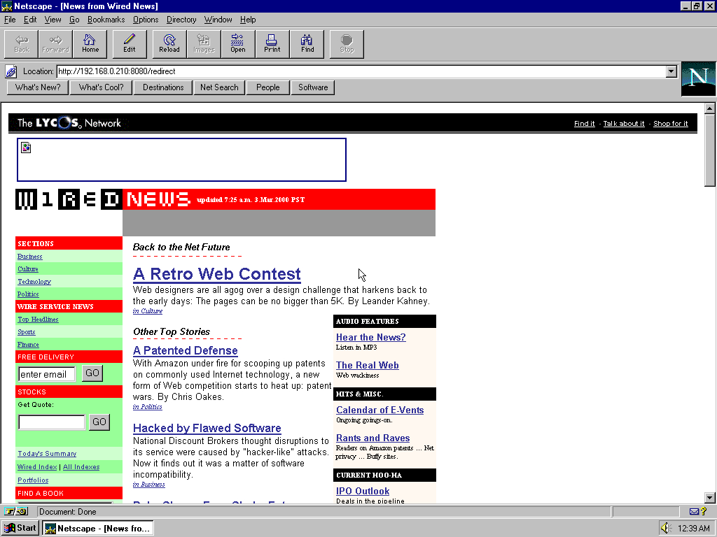 Windows 95 OSR2 x86 with Netscape Navigator 3.0 Gold displaying a page from Wired archived at March 03, 2000 at 15:38:22