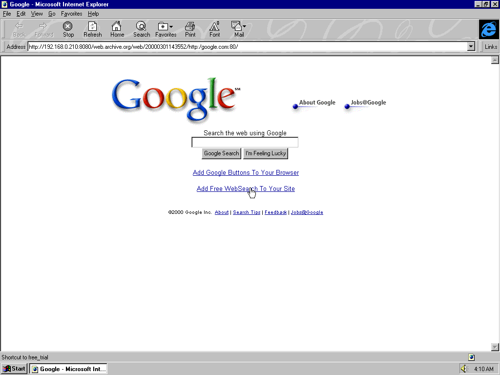 Windows 95 OSR2 x86 with Microsoft Internet Explorer 3.0 displaying a page from Google.com archived at March 01, 2000 at 14:35:52