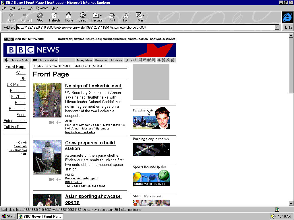 Windows 95 OSR2 x86 with Microsoft Internet Explorer 3.0 displaying a page from BBC News archived at December 06, 1998 at 11:18:51