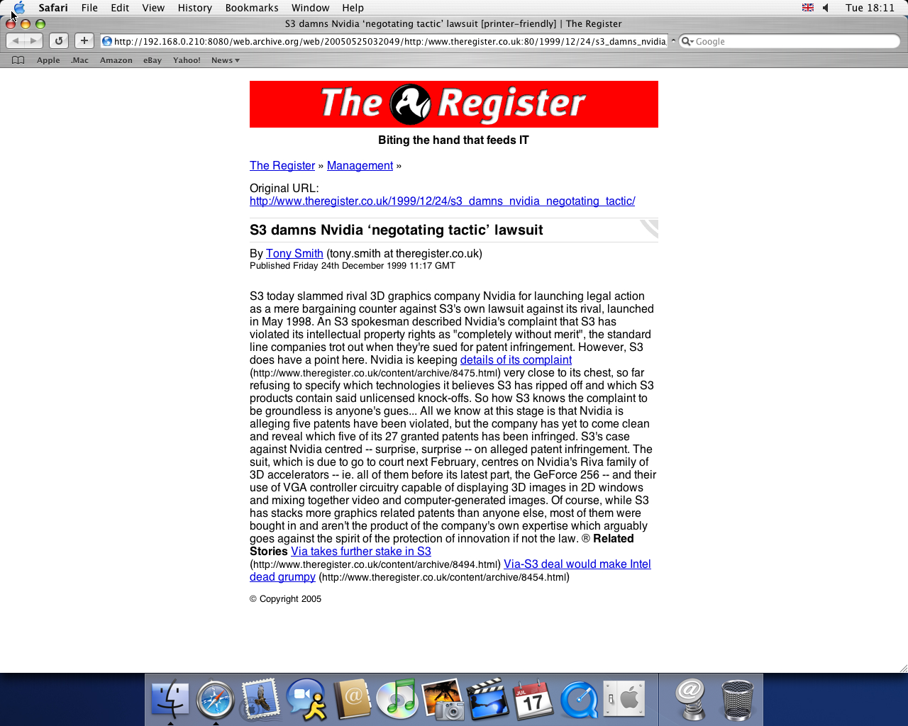 OS X 10.3 PPC with Safari 1.1 displaying a page from TheRegister.co.uk archived at May 25, 2005 at 03:20:49