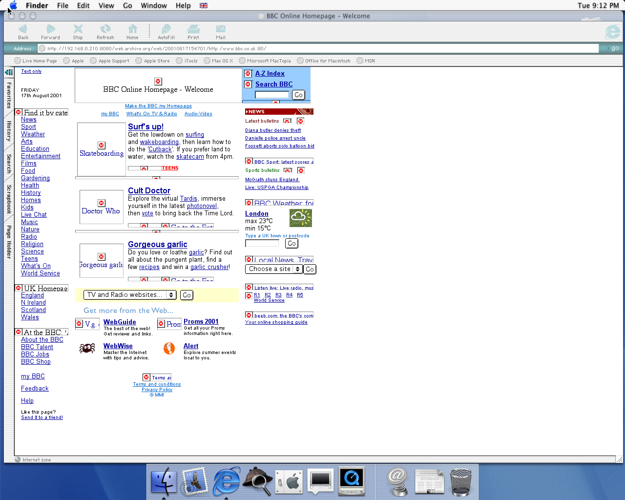 OS X 10.0 PPC with Microsoft Internet Explorer 5.1 for Mac Preview displaying a page from BBC.co.uk archived at August 17, 2001 at 15:47:01
