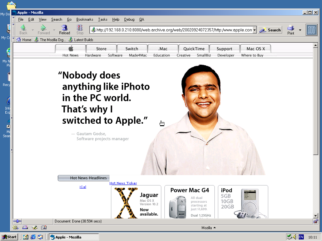 Windows 2000 Pro x86 with Mozilla Suite 0.6 displaying a page from Apple.com archived at September 24, 2002 at 07:23:57