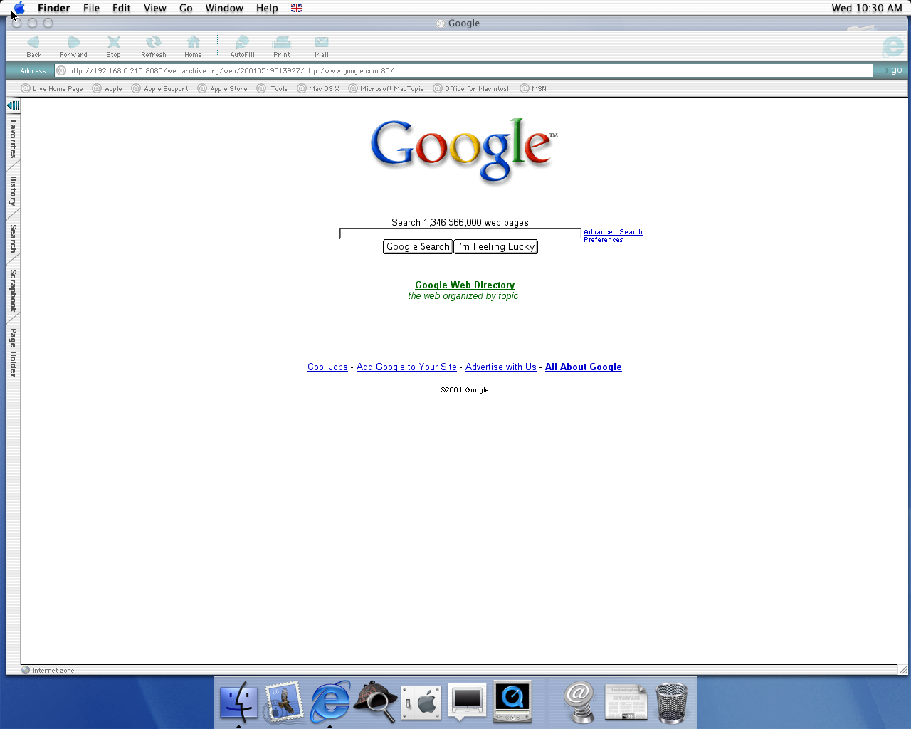 OS X 10.0 PPC with Microsoft Internet Explorer 5.1 for Mac Preview displaying a page from Google.com archived at May 19, 2001 at 01:39:27