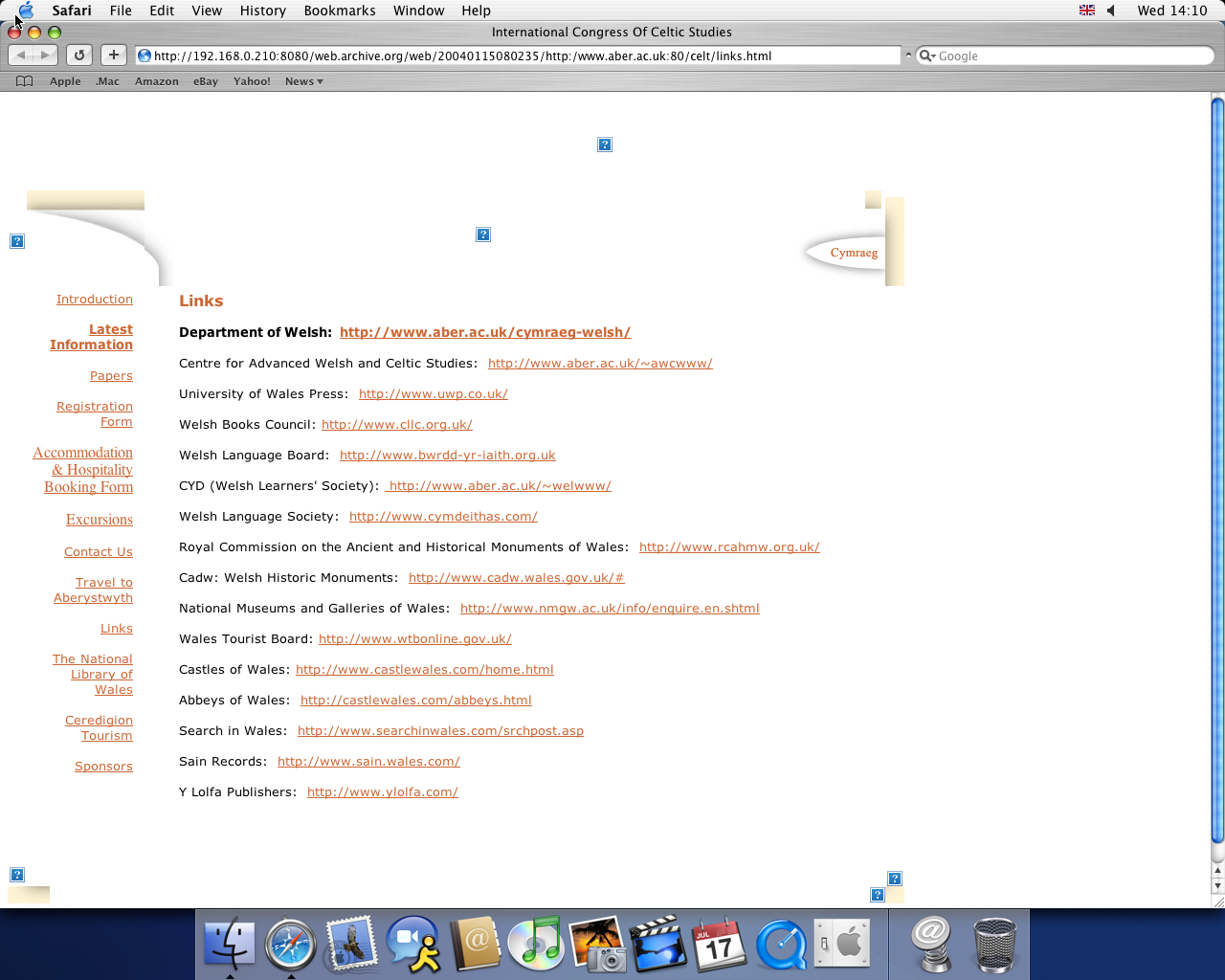 OS X 10.3 PPC with Safari 1.1 displaying a page from University of Aberystwyth archived at January 15, 2004 at 08:02:35