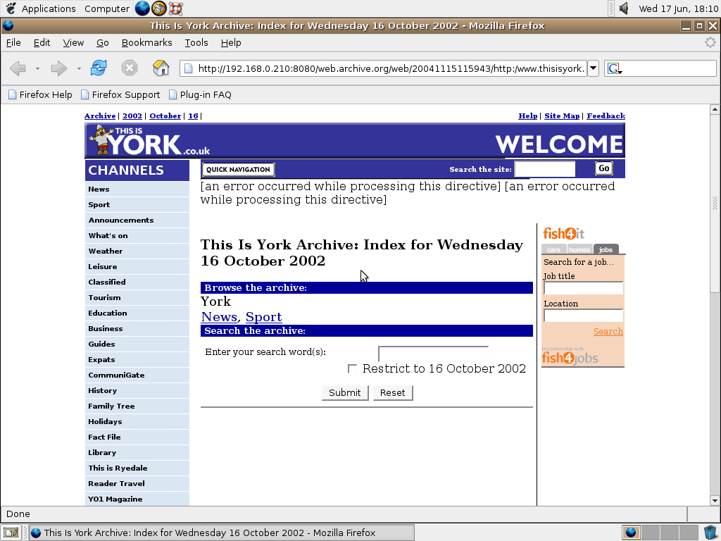 Ubuntu 4.10 x86 with Mozilla Firefox 0.9.3 displaying a page from York Press archived at November 15, 2004 at 11:59:43