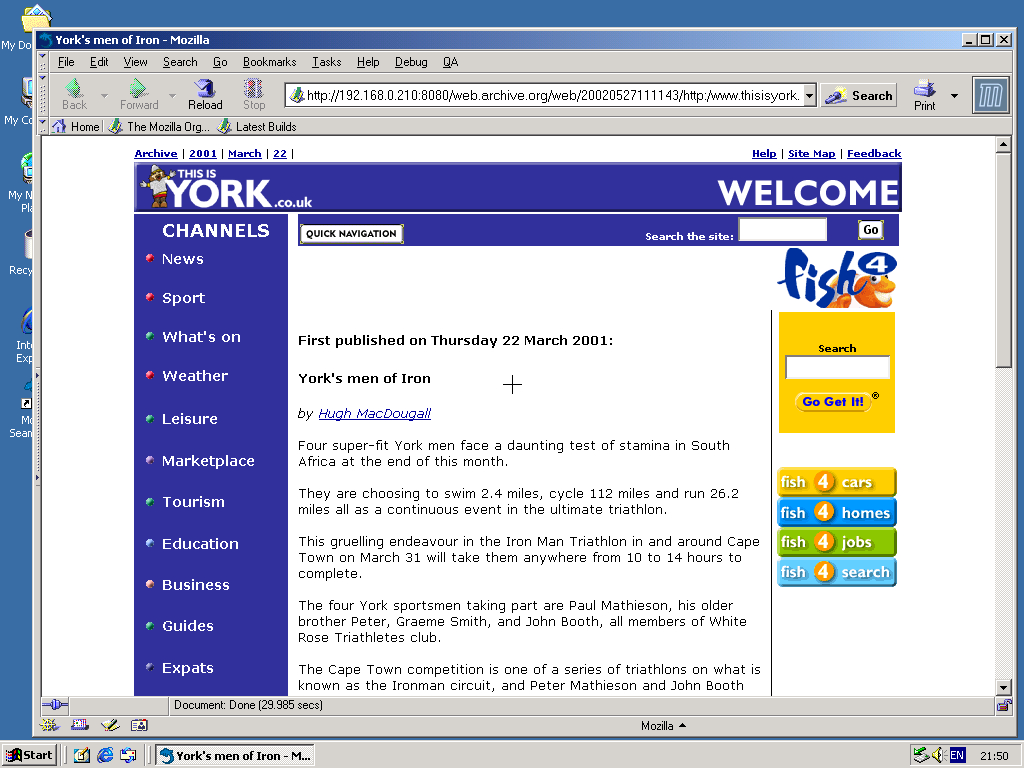 Windows 2000 Pro x86 with Mozilla Suite 0.6 displaying a page from York Press archived at May 27, 2002 at 11:11:43