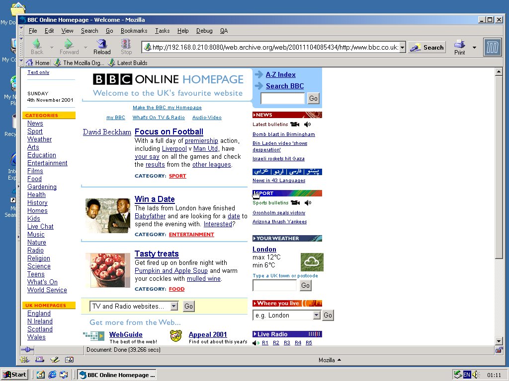 Windows 2000 Pro x86 with Mozilla Suite 0.6 displaying a page from BBC.co.uk archived at November 04, 2001 at 08:54:34