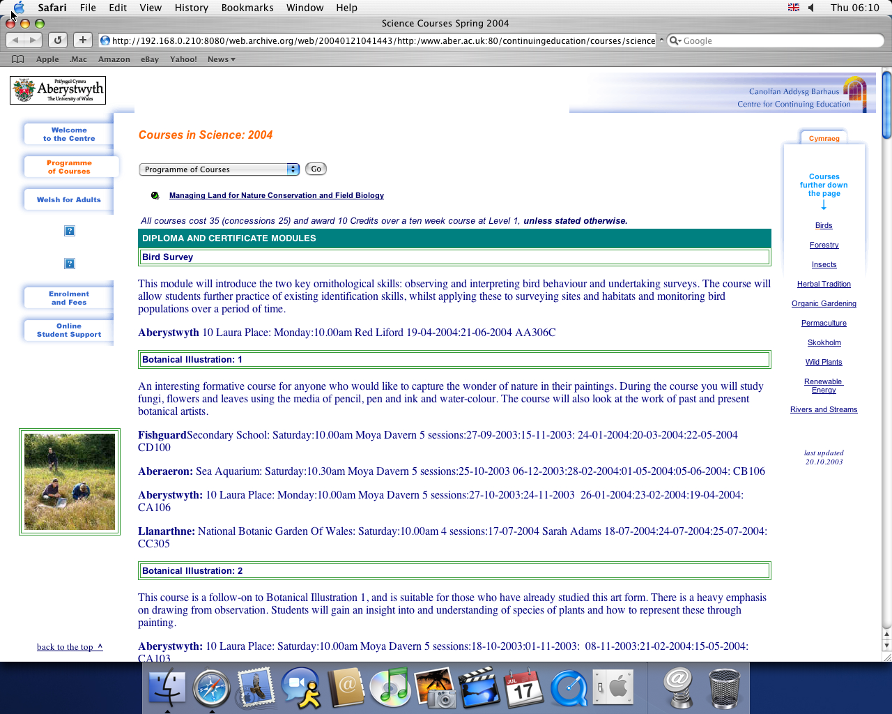 OS X 10.3 PPC with Safari 1.1 displaying a page from University of Aberystwyth archived at January 21, 2004 at 04:14:43