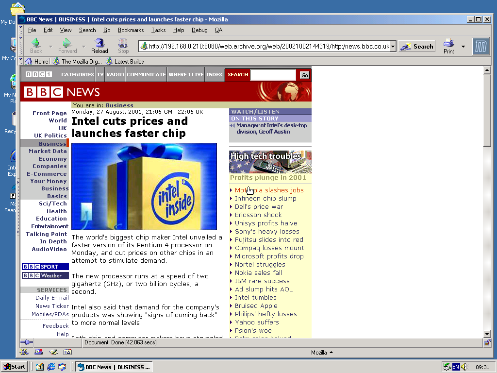 Windows 2000 Pro x86 with Mozilla Suite 0.6 displaying a page from BBC News archived at October 02, 2002 at 14:43:19