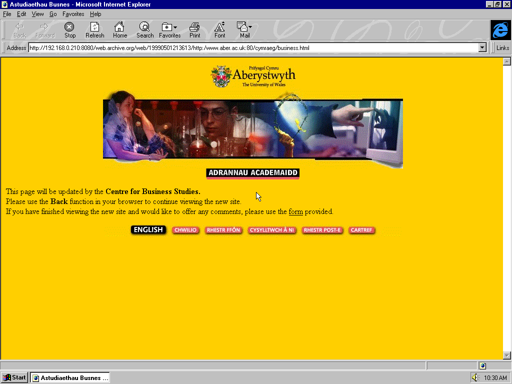 Windows 95 OSR2 x86 with Microsoft Internet Explorer 3.0 displaying a page from University of Aberystwyth archived at May 01, 1999 at 21:36:13