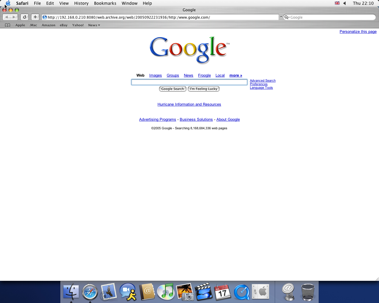 OS X 10.3 PPC with Safari 1.1 displaying a page from Google.com archived at September 22, 2005 at 23:19:36