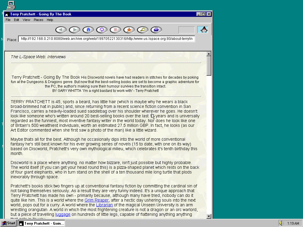 Windows 95 OSR2 x86 with HotJava 1.0 displaying a page from Lspace.org archived at May 22, 1997 at 13:03:16