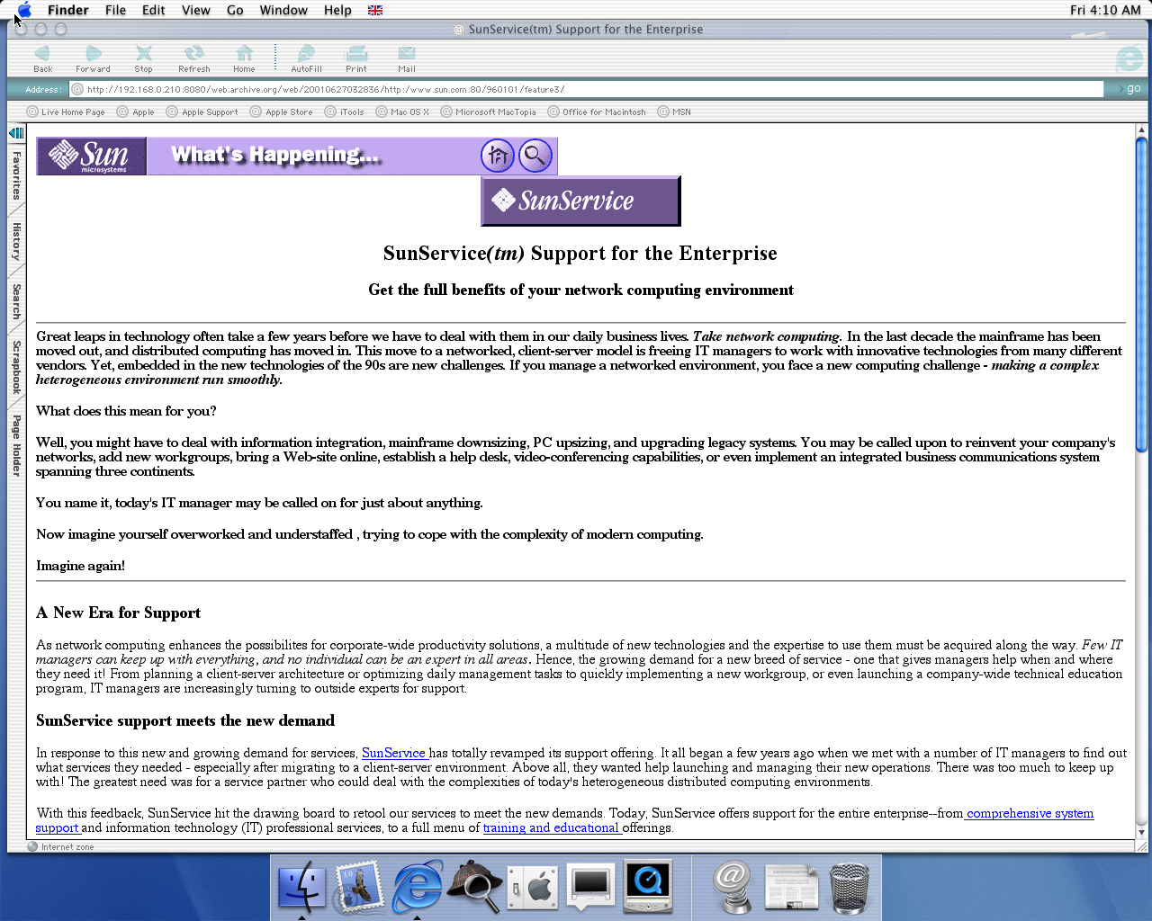 OS X 10.0 PPC with Microsoft Internet Explorer 5.1 for Mac Preview displaying a page from Sun Microsystems archived at June 27, 2001 at 03:28:36