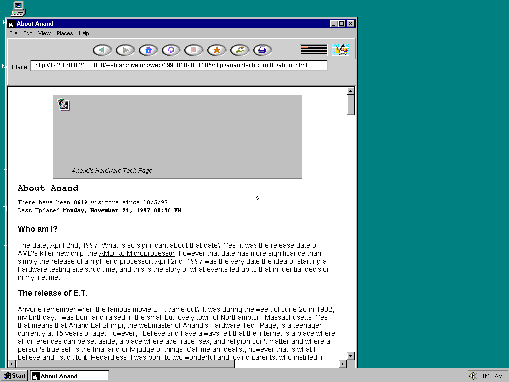 Windows 95 OSR2 x86 with HotJava 1.0 displaying a page from AnandTech archived at January 09, 1998 at 03:11:05
