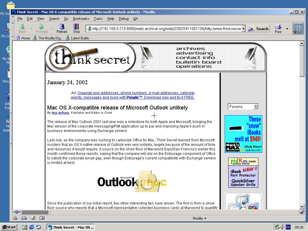 Windows 2000 Pro x86 with Mozilla Suite 0.6 displaying a page from Think Secret archived at April 11, 2002 at 00:11:06