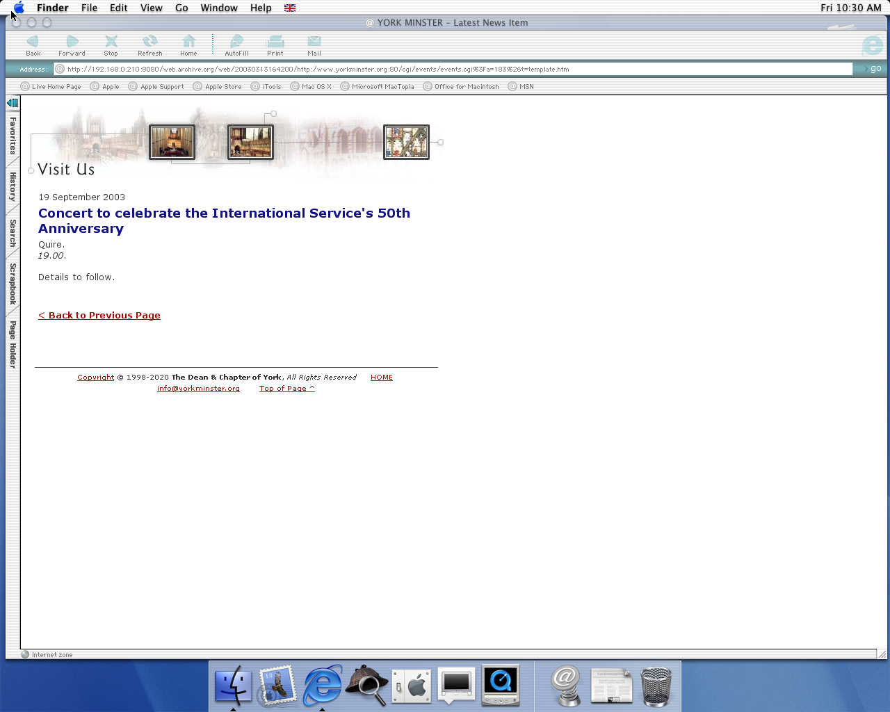 OS X 10.0 PPC with Microsoft Internet Explorer 5.1 for Mac Preview displaying a page from York Minster archived at March 13, 2003 at 16:42:00